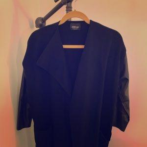 Black sweater / faux leather knit jacket